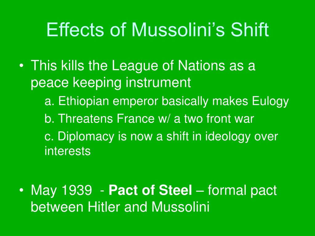 Effects of Mussolini's Shift