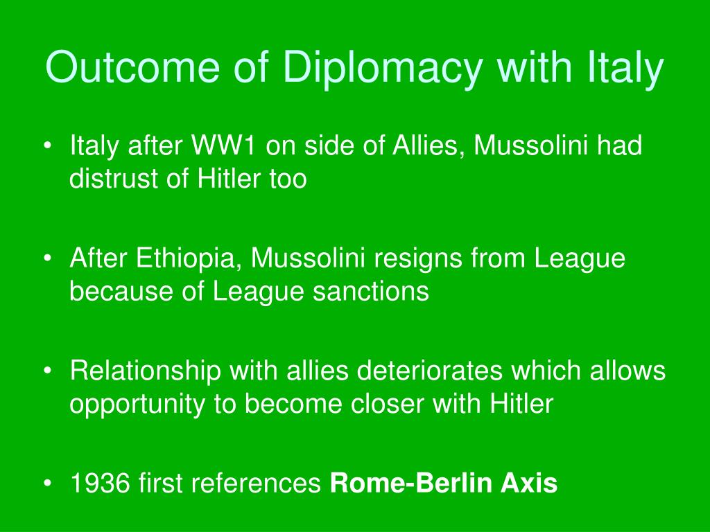 Outcome of Diplomacy with Italy