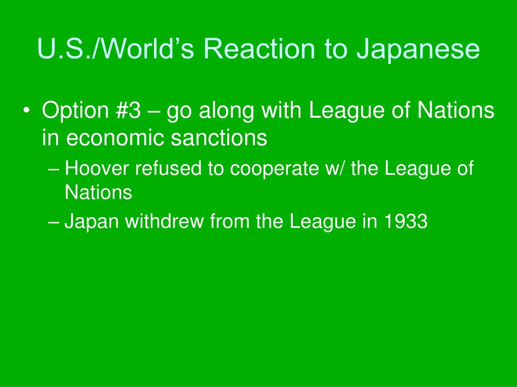 U.S./World's Reaction to Japanese