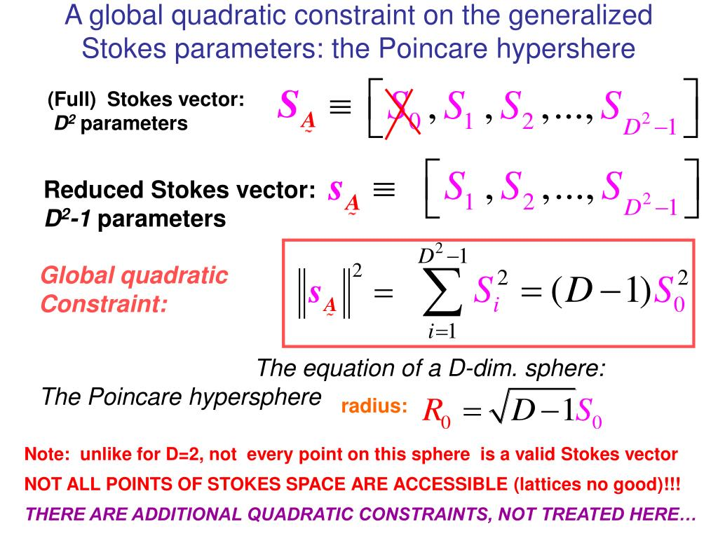 A global quadratic constraint on the generalized Stokes parameters: the Poincare hypershere