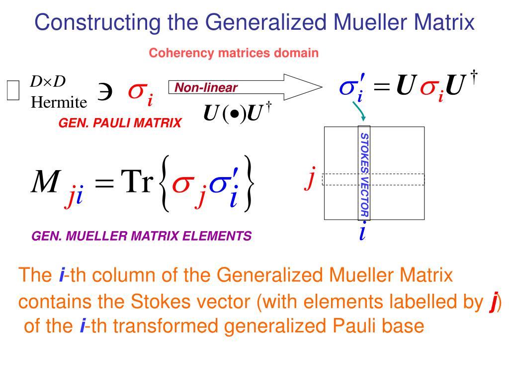 Constructing the Generalized Mueller Matrix