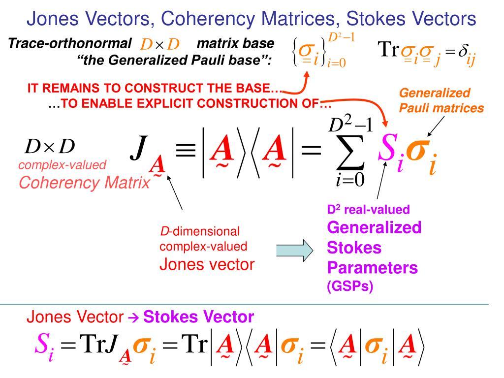 Jones Vectors, Coherency Matrices, Stokes Vectors