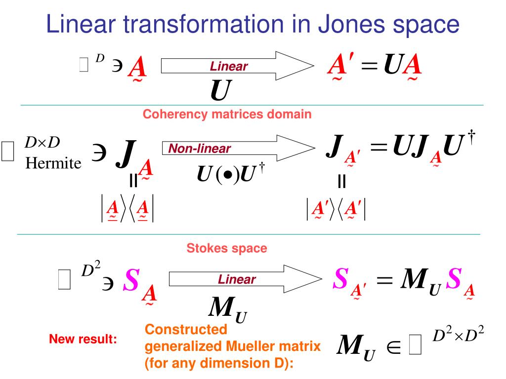 Linear transformation in Jones space