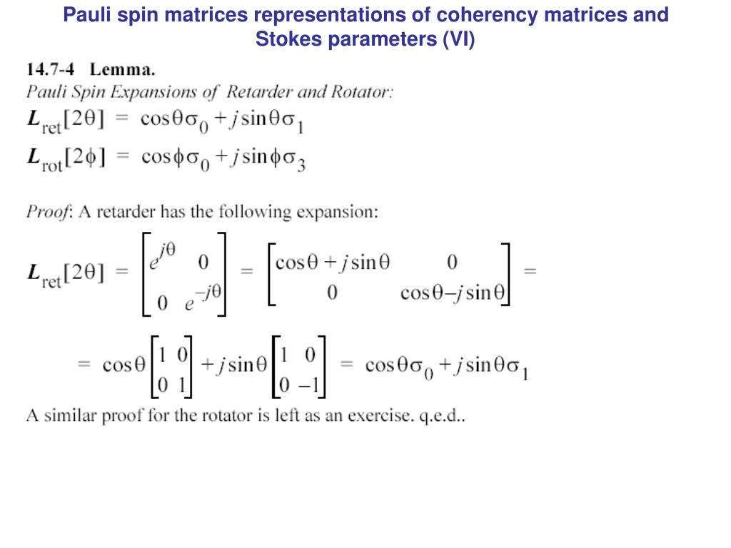 Pauli spin matrices representations of coherency matrices and Stokes parameters (VI)