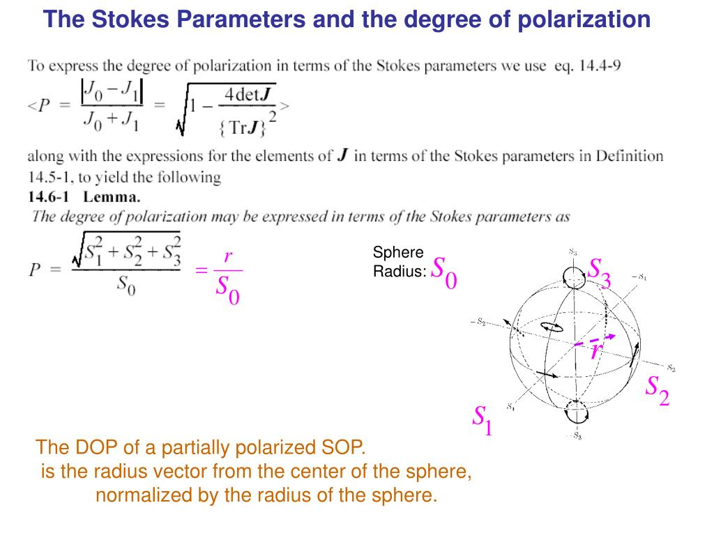 The Stokes Parameters and the degree of polarization