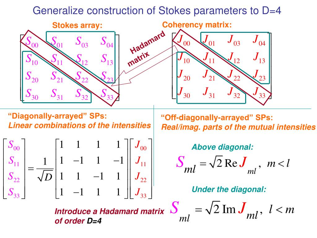 Generalize construction of Stokes parameters to D=4