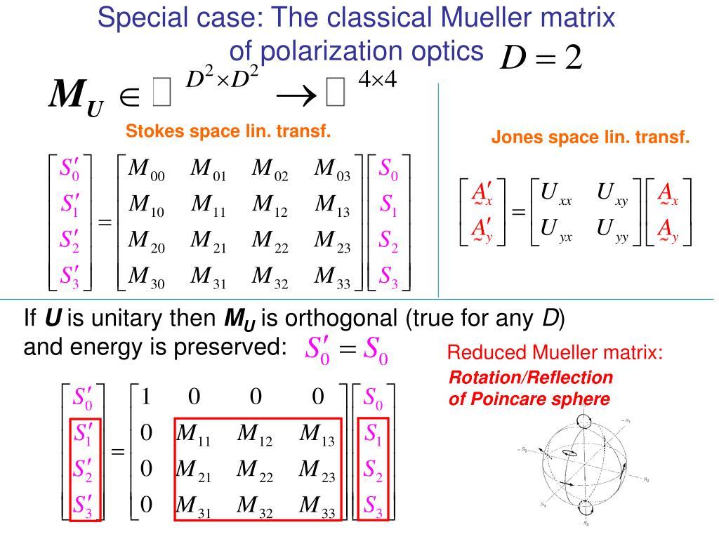 Special case: The classical Mueller matrix