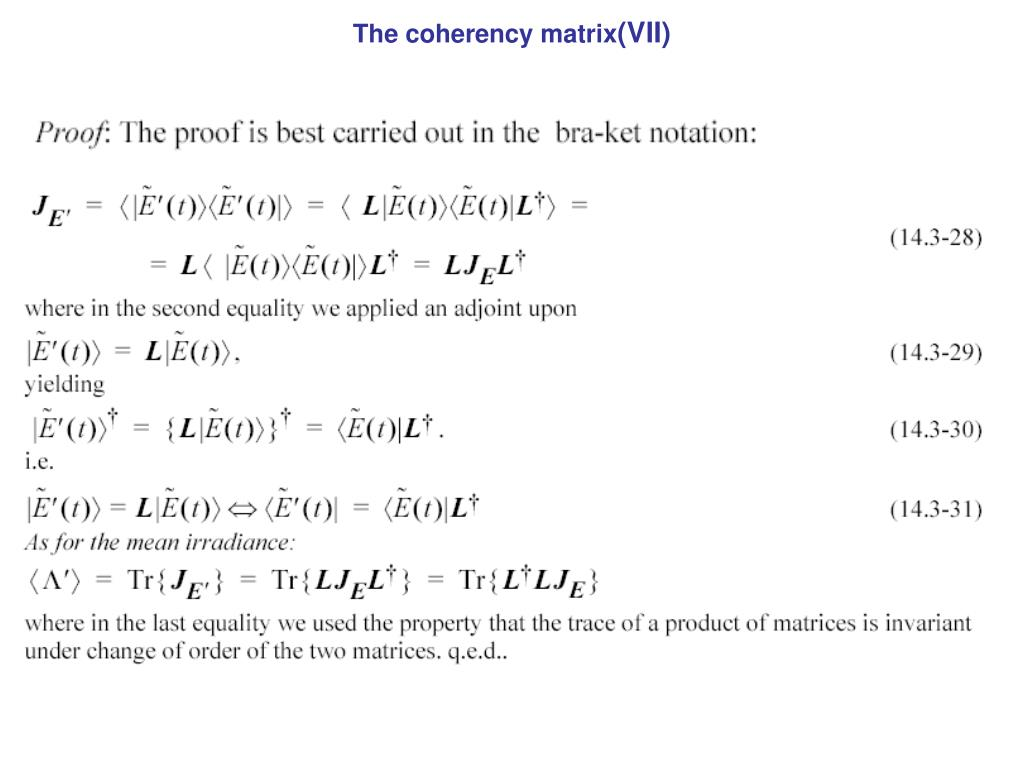 The coherency matrix