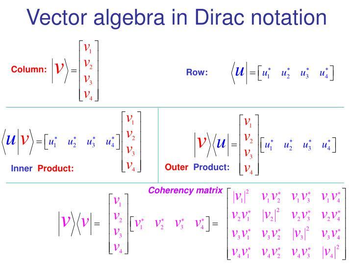 Vector algebra in dirac notation3