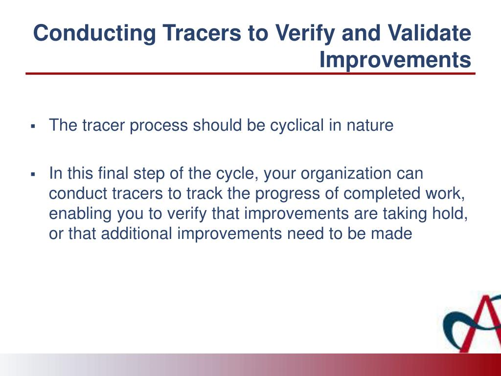 Conducting Tracers to Verify and Validate Improvements