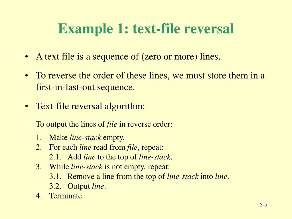 Example 1: text-file reversal