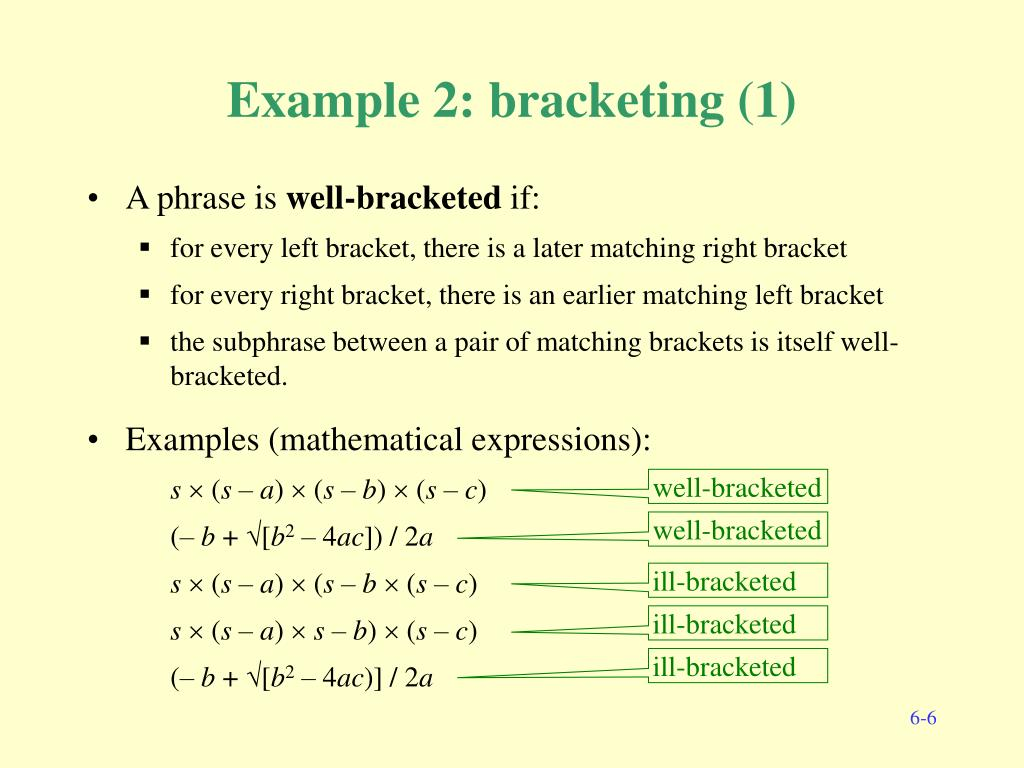 Example 2: bracketing (1)