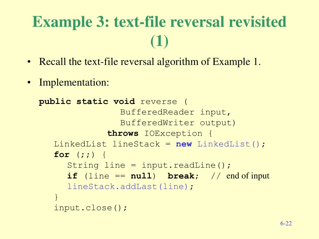 Example 3: text-file reversal revisited (1)
