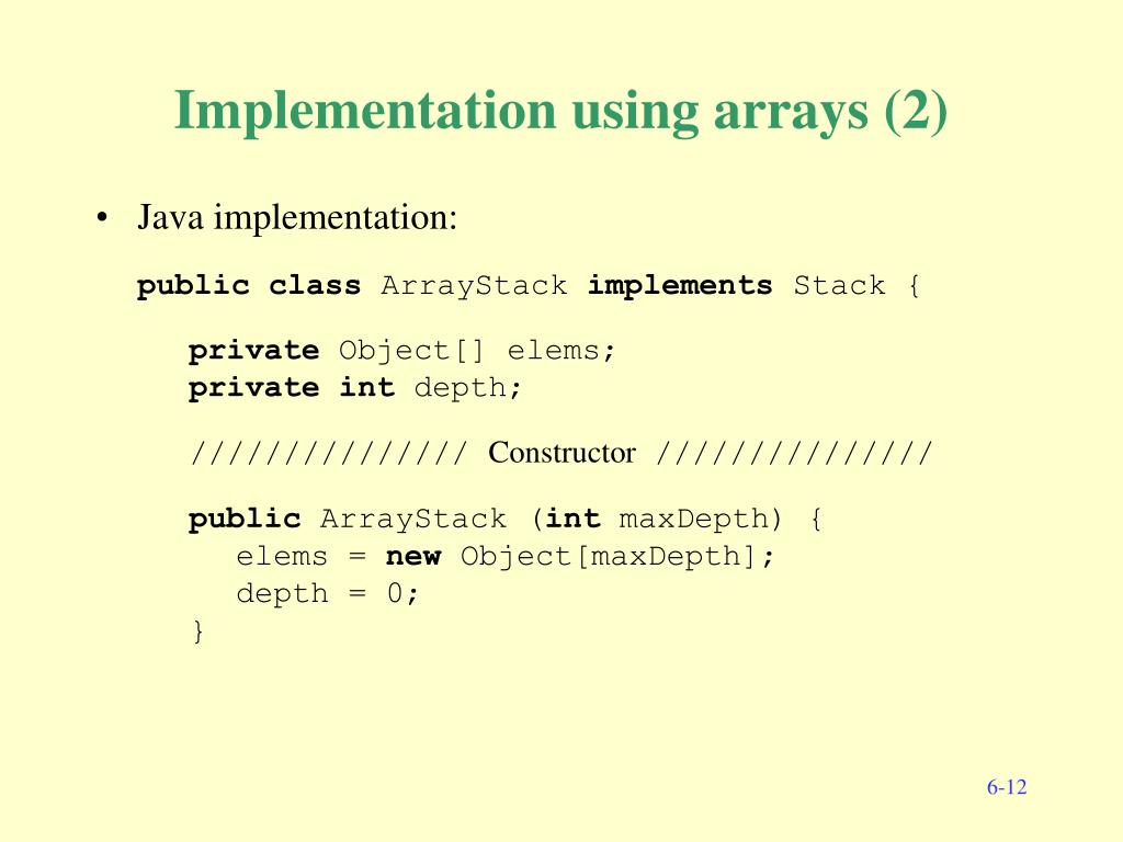 Implementation using arrays (2)