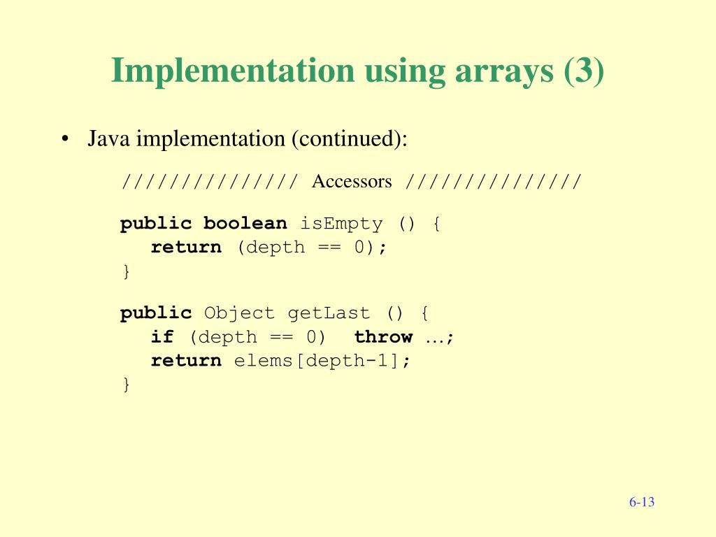Implementation using arrays (3)