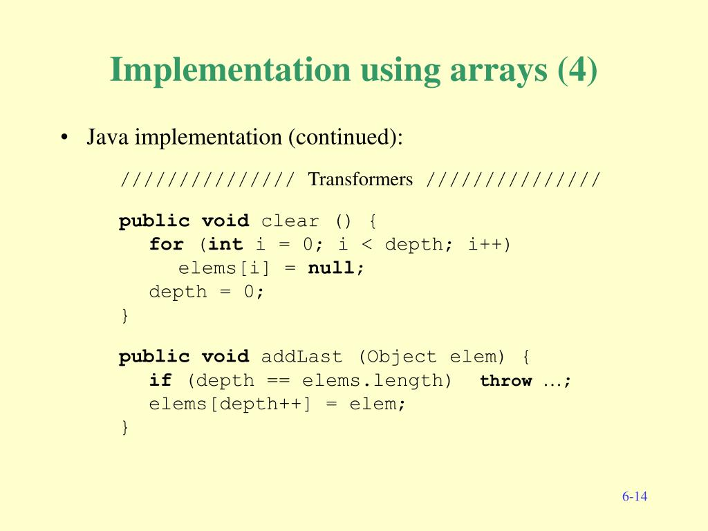 Implementation using arrays (4)