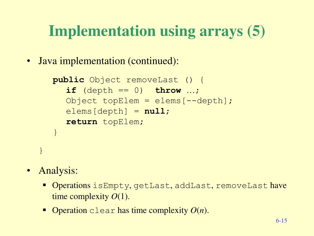 Implementation using arrays (5)