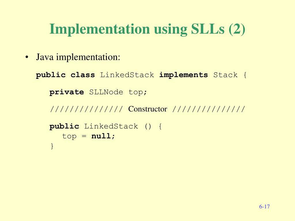 Implementation using SLLs (2)