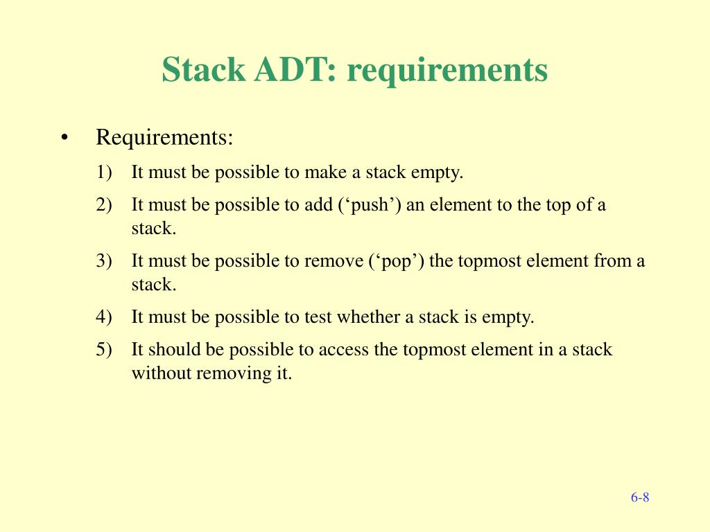 Stack ADT: requirements