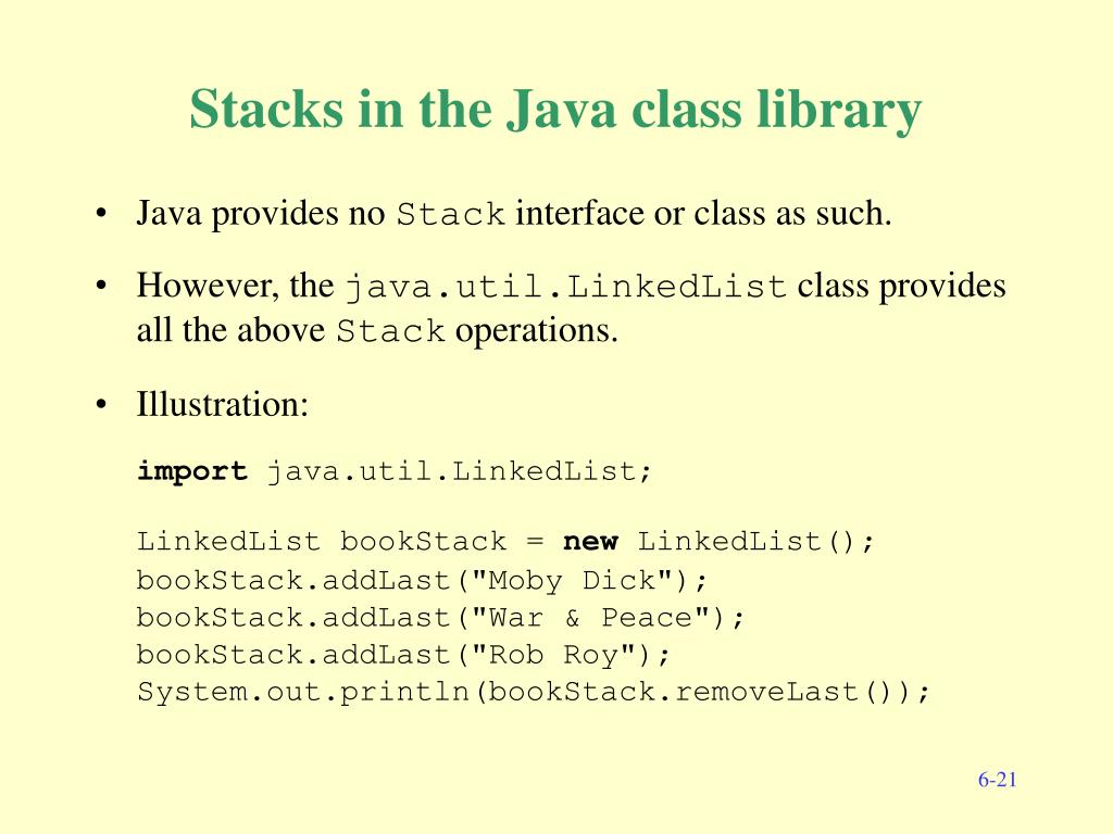 Stacks in the Java class library