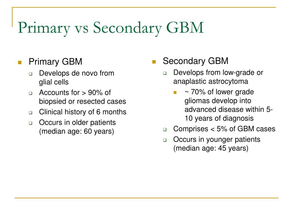 Primary vs Secondary GBM