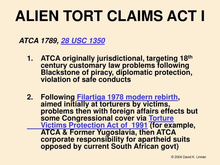 ALIEN TORT CLAIMS ACT I