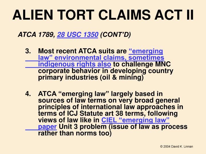 ALIEN TORT CLAIMS ACT II