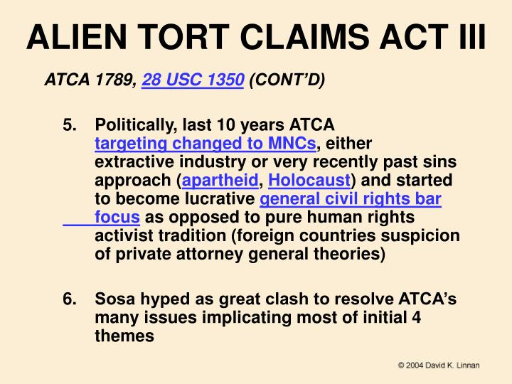 ALIEN TORT CLAIMS ACT III