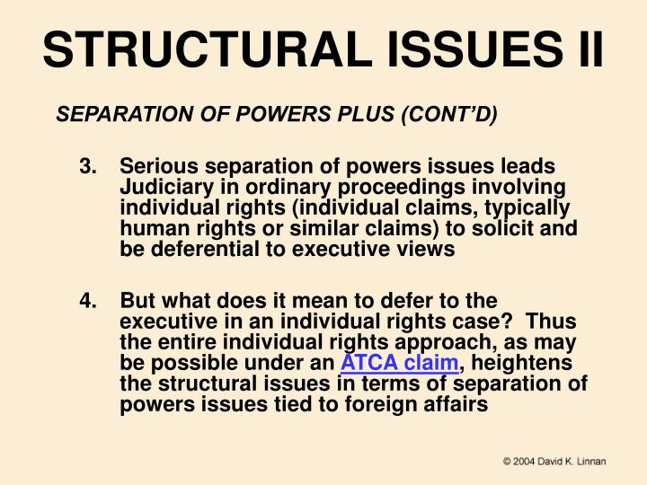 STRUCTURAL ISSUES II