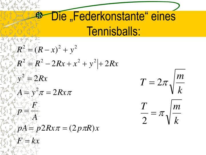 """Die """"Federkonstante"""" eines Tennisballs:"""