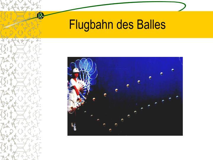 Flugbahn des Balles