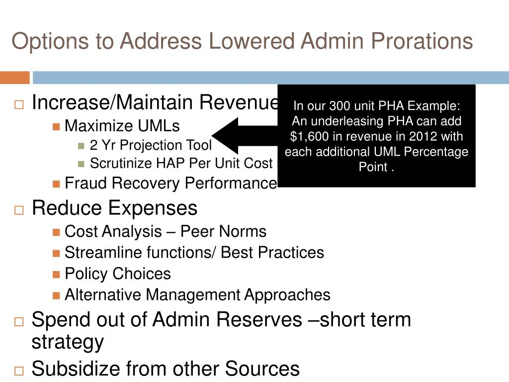 Options to Address Lowered Admin Prorations