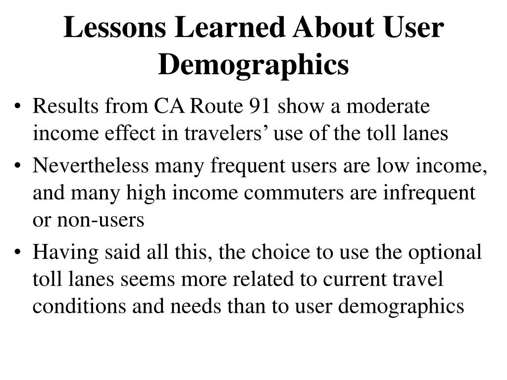 Lessons Learned About User Demographics