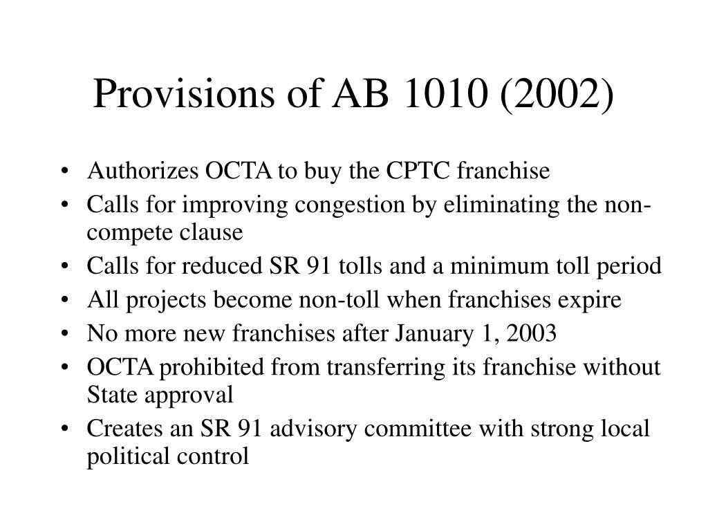 Provisions of AB 1010 (2002)