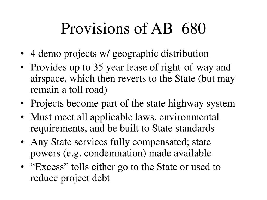 Provisions of AB  680
