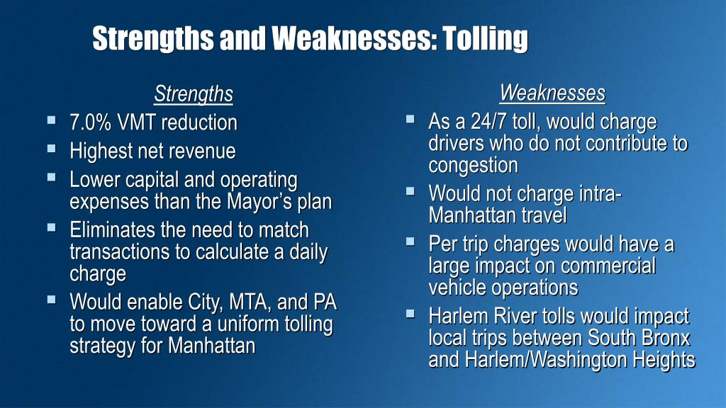 Strengths and Weaknesses: Tolling