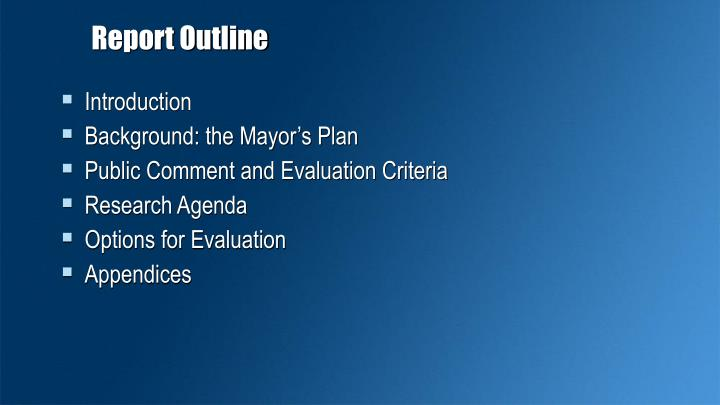 Report Outline