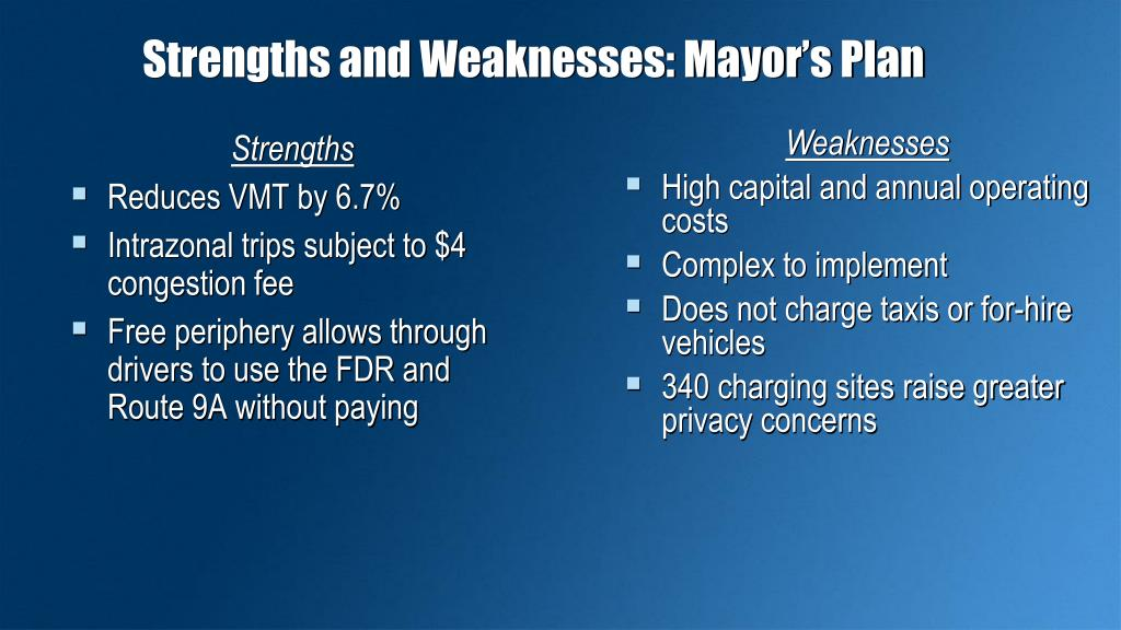 Strengths and Weaknesses: Mayor's Plan