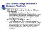 low income energy efficiency strategic plan goals