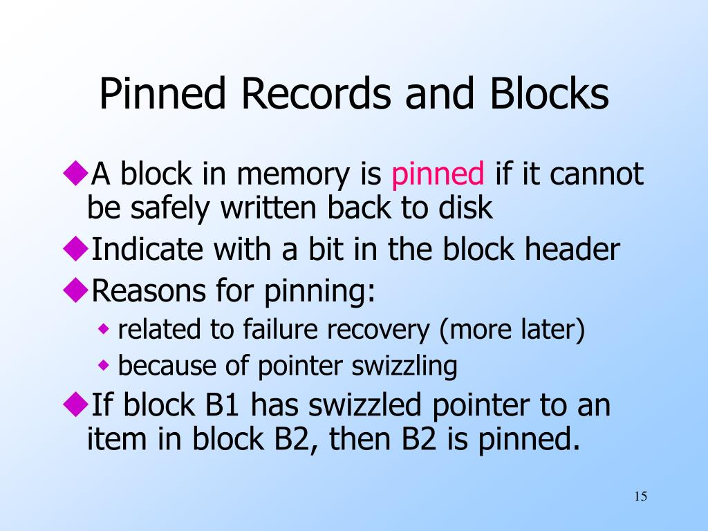 Pinned Records and Blocks