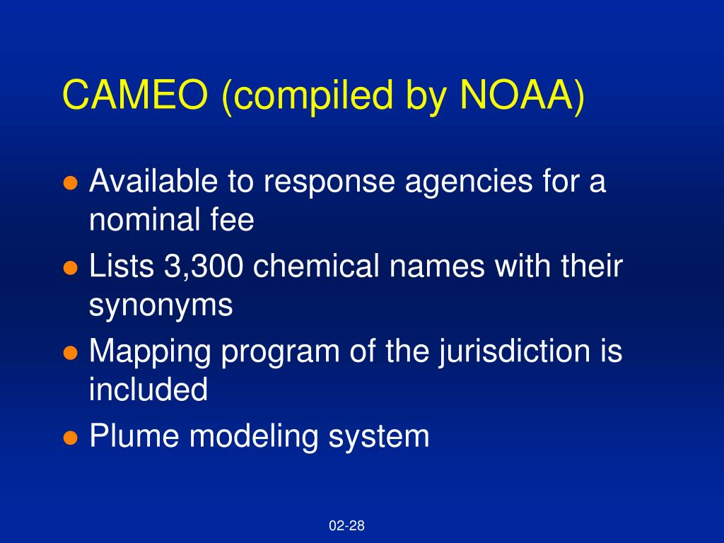 CAMEO (compiled by NOAA)