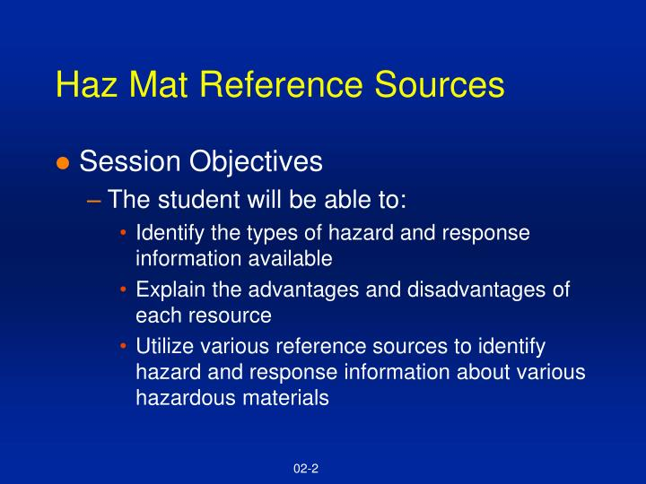 Haz mat reference sources