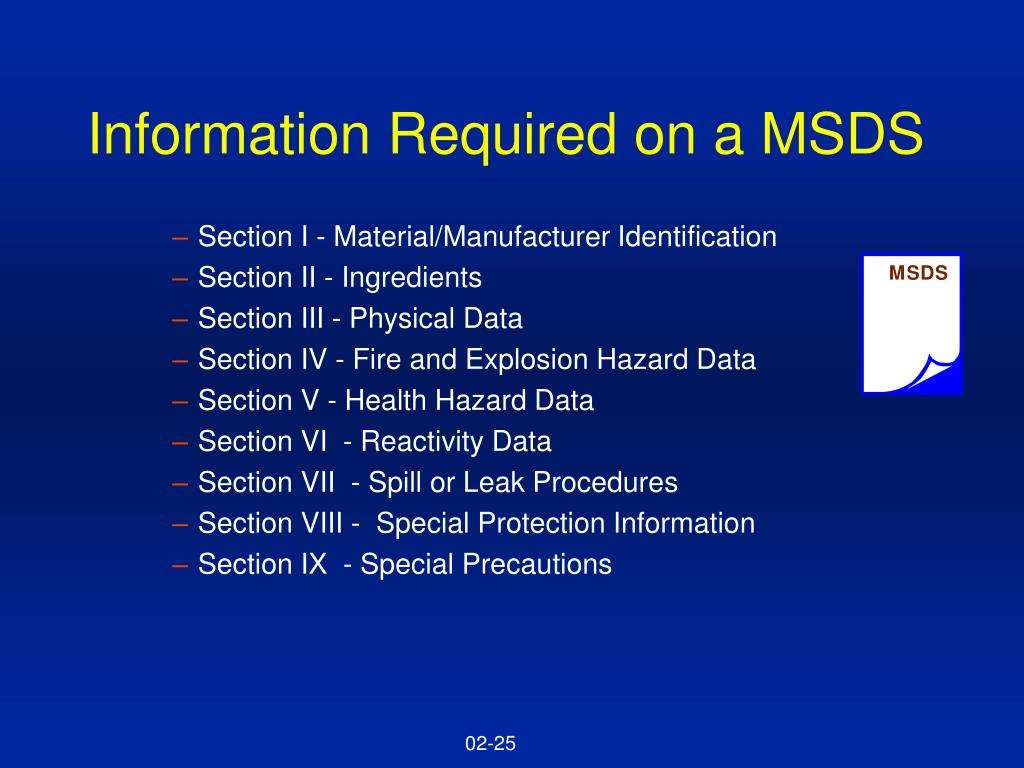 Information Required on a MSDS