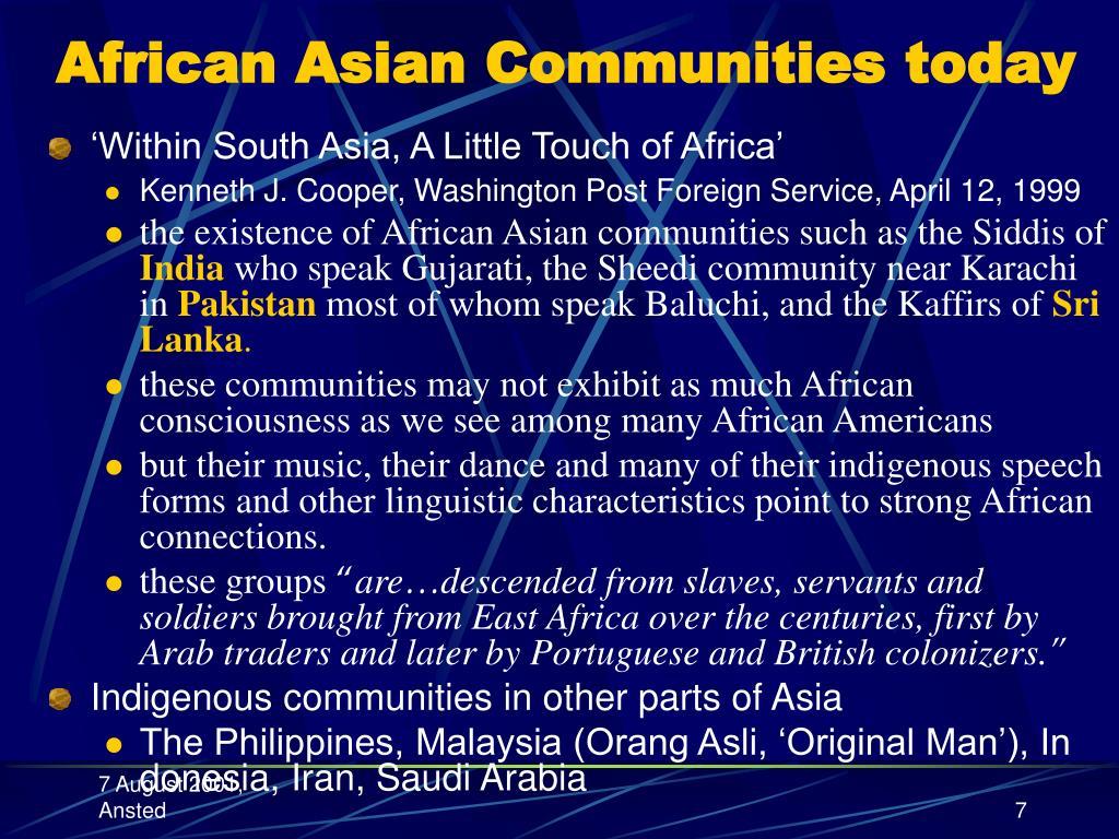 African Asian Communities today