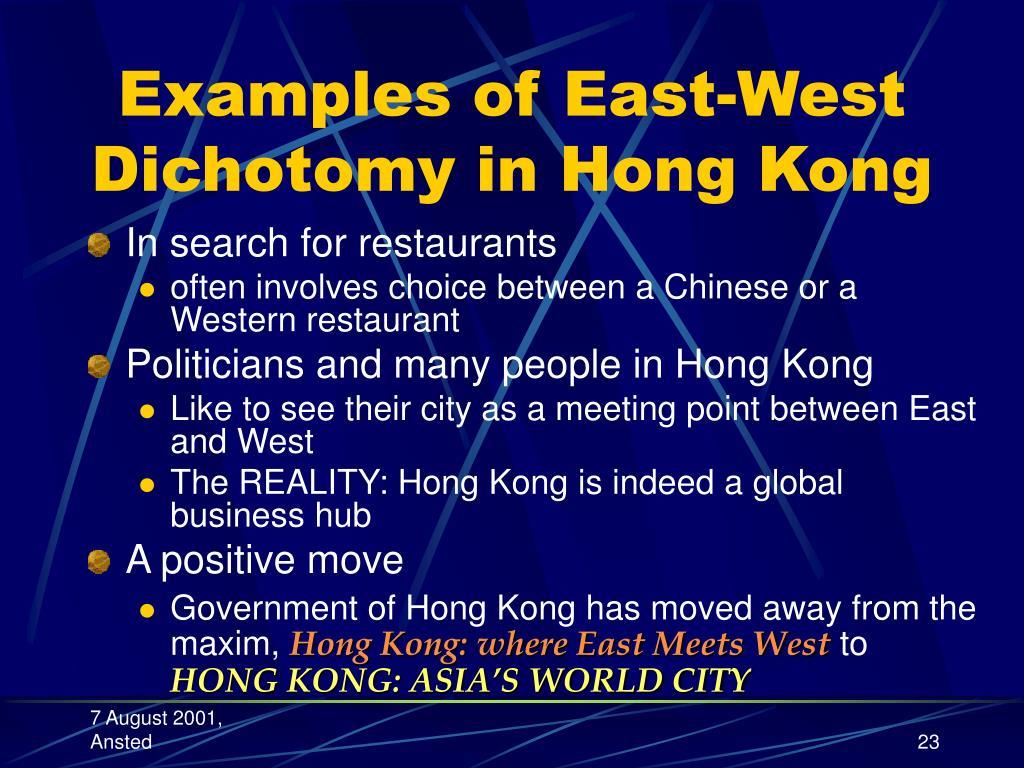 Examples of East-West Dichotomy in Hong Kong