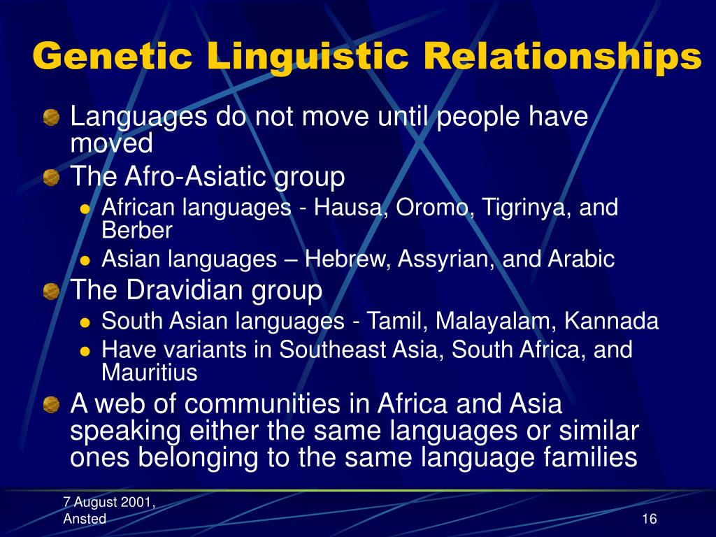 Genetic Linguistic Relationships