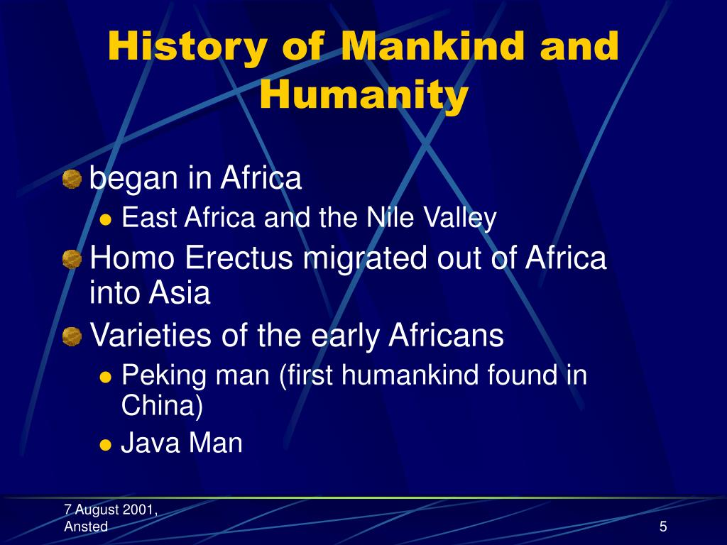 History of Mankind and Humanity