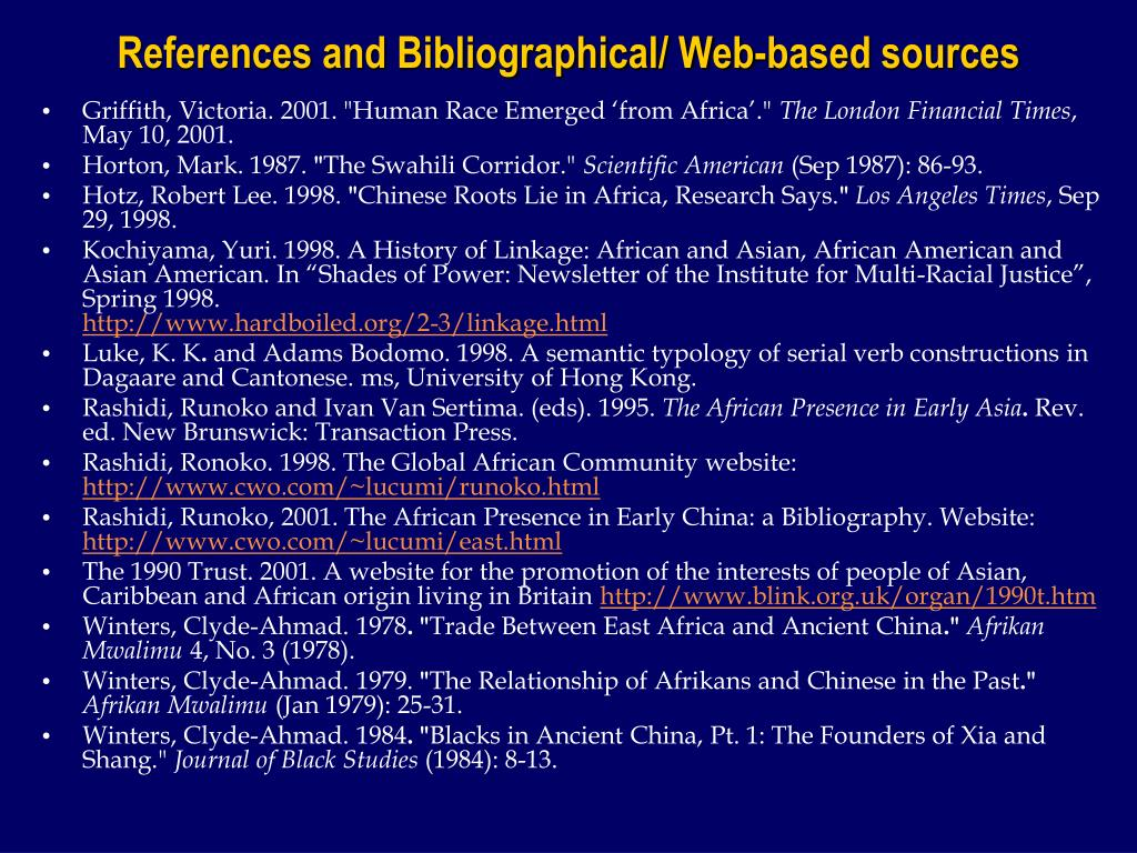 References and Bibliographical/ Web-based sources