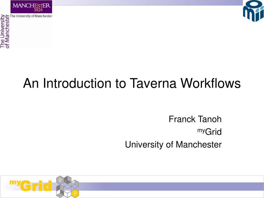 an introduction to taverna workflows l.