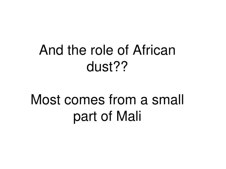 And the role of African dust??